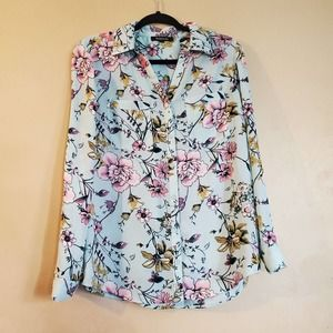 Relativity Blue Floral Button Down Blouse Small